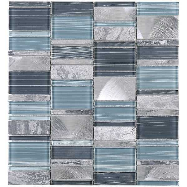 TileGen. Brickmax Random Sized Mixed Material Tile in Gray/Blue Wall Tile (10 sheets/10.3sqft.)