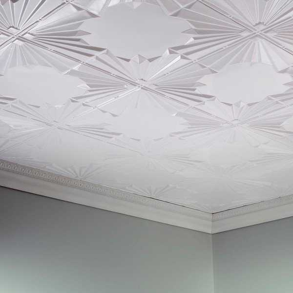 Fasade Art Deco Matte White 2 ft. x 4 ft. Glue-up Ceiling Tile