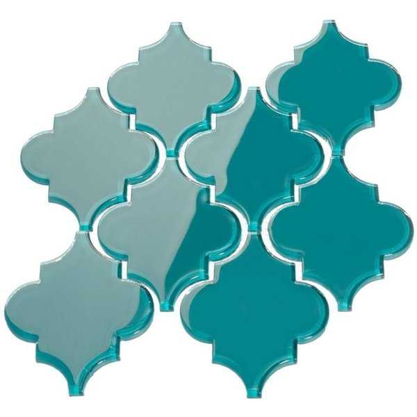Dark Teal Arabesque Water Jet Tiles