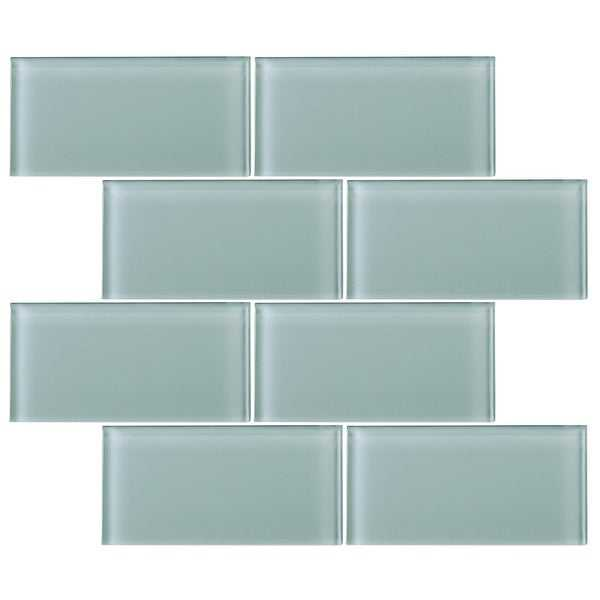 TileGen. 3' x 6' Glass Subway Tile in Light Gray Wall Tile (80 tiles/10sqft.)