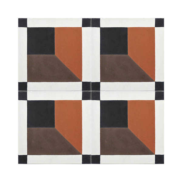 Shafshawn Brown, Orange, Black Handmade 8x8-in Moroccan tile(Pack 12)