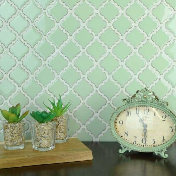 SomerTile 12.375x12.5-inch Antaeus Light Green Porcelain Mosaic Floor and Wall Tile (10 tiles/10.7 sqft.)