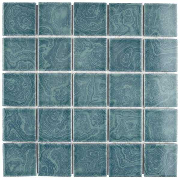 SomerTile 12x12-inch Paradise Palm Green Porcelain Mosaic Floor and Wall Tile (10 tiles/10.21 sqft.)