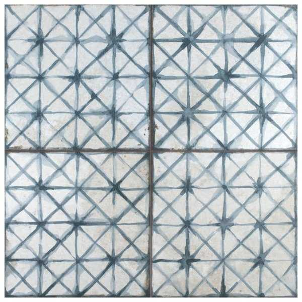 SomerTile 17.625x17.625-inch Royals Cathedral Blue Ceramic Floor and Wall Tile (5 tiles/11.02 sqft.)