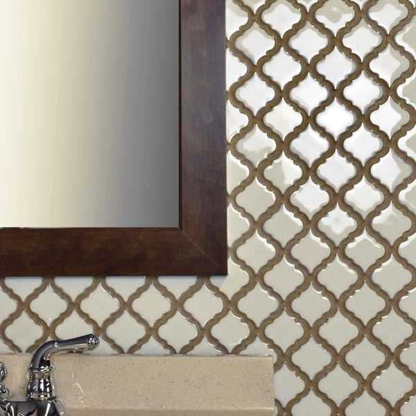 SomerTile 12.375x12.5-inch Antaeus Snowcap White Porcelain Mosaic Floor and Wall Tile (10 tiles/10.7 sqft.)