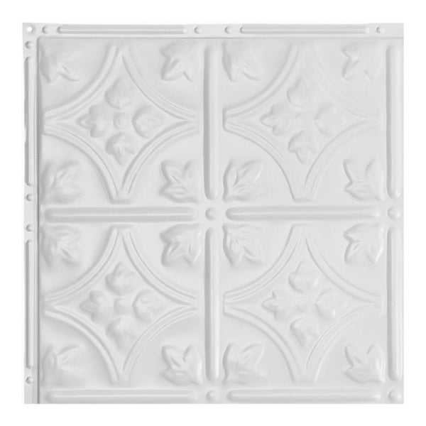Great Lakes Tin Hamilton Matte White 2-foot x 2-foot Nail-up Ceiling Tile (Carton of 5)