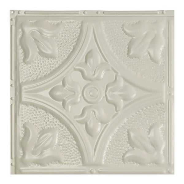 Great Lakes Tin Jamestown Antique White 2-foot x 2-foot Nail-up Ceiling Tile (Carton of 5)