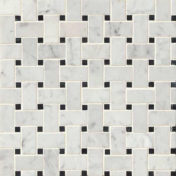 Bedrosians Basket Weave Grey Mosaic Stone Tile (Box of 10 Sheets)