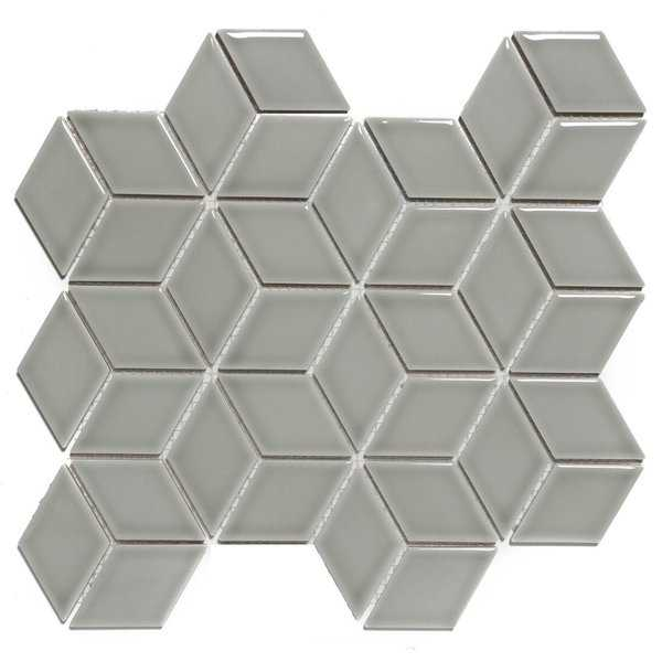 Paris Rhombus Glazed Porcelain Mosaic Tile Glossy Light Gray (Case of 10 sheets / 8.7 sq. ft.)