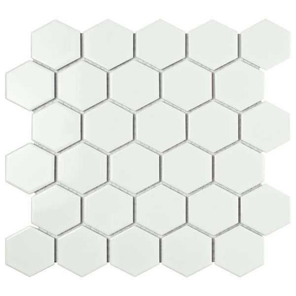 Barcelona Hexagon Glazed Porcelain Mosaic Tile Glossy Bright White (Case of 10 sheets / 10 sq. ft.)