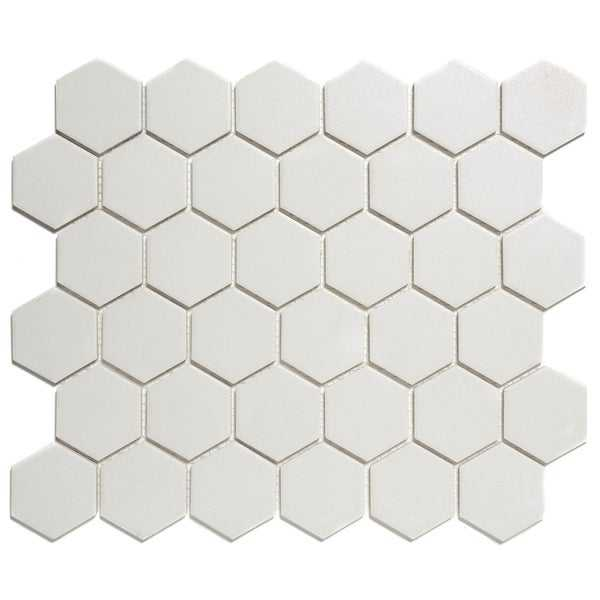 London Hexagon Unglazed Porcelain Mosaic Tile White (Case of 10 sheets / 10 sq. ft.)