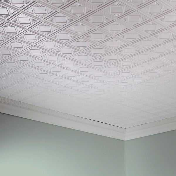 Fasade Traditional Style #4 Gloss White 2 ft. x 4 ft. Glue-up Ceiling Tile