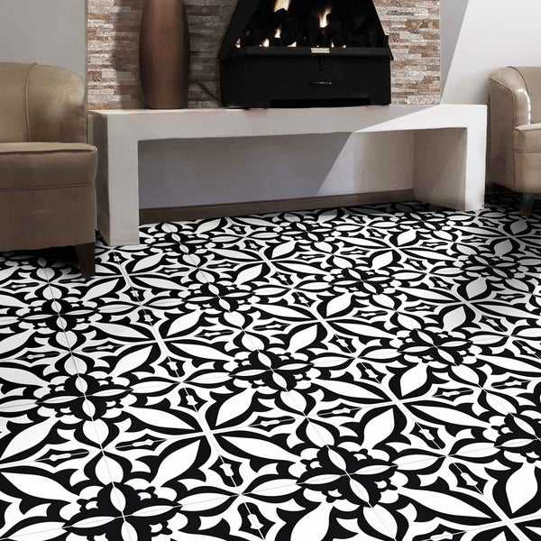 Meknes in Black and White Handmade 8x8-in Moroccan Tiles (Pack 12)