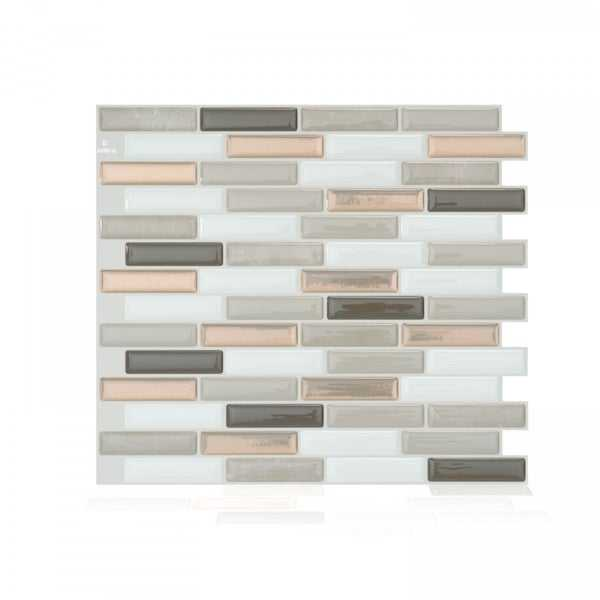 Milenza Andrea 10.20 in. x 9.00 in. Peel and Stick Self-Adhesive Decorative Mosaic Wall Tile Backsplash (4-Pack)