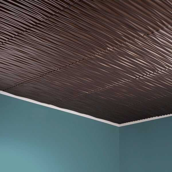Fasade Dunes Horizontal Argent Bronze 2-foot x 2-foot Glue-up Ceiling Tile