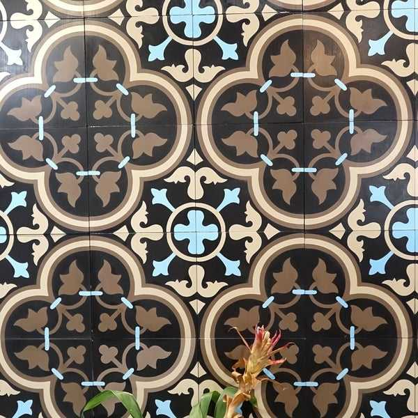 Casa in Brown, Beige, Blue Handmade 8x8-in Moroccan Tiles (Pack 12)